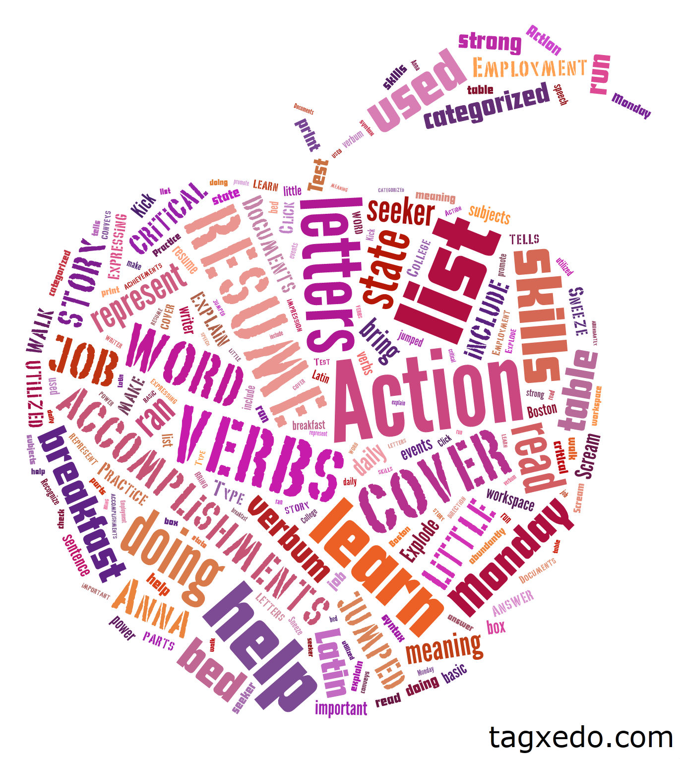 list of action verbs hugh fox iii abandon