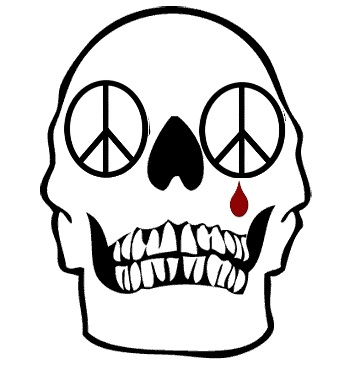 skull-peace-sign and tear