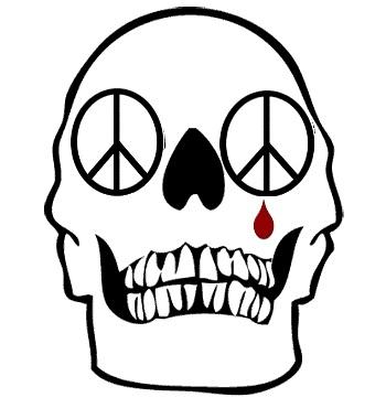 skull-peace-sign and tear