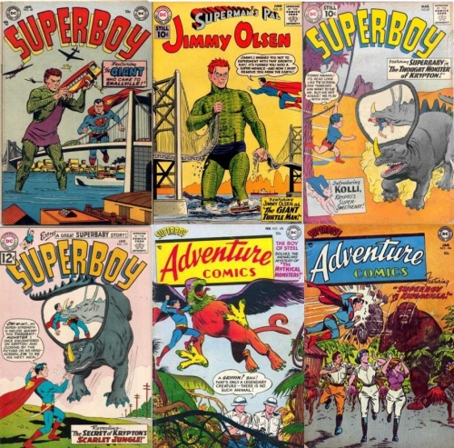 Superboy, Adventure Comics #30, Jimmy Olsen, Giant Turtle Man, Jimmy Olsen, Thought Monster of Krypton, Superboy #87, Superboy #102, Adventure Comics #185, Griffin, Adventure Comics #196, Kingorilla, Giant Ape.
