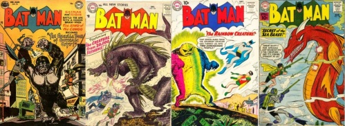 Batman, Batman #75, Gorilla Boss, Batman #104, The Creature from 20,000 Fathoms, Batman #134, Rainbow Creature, Batman #138, Sea Beast, #142-Tezcatlipoca, #143 – Bat-Hound and the Creature, and #162 – The Batman Creature.