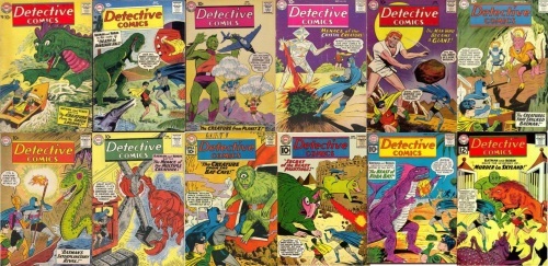 Detective Comics, Detective Comics #252, Creature from the Green Lagoon, Detective Comics #255, Robot Dinosaurs, Detective Comics #270, Creature from Planet X, Detective Comics  #272, Menace of the Crystal Creature, Detective Comics #277, Jigsaw Creature from Space, Detective Comics #278, Detective Comics # 279, Creatures that Stalked Batman, Detective Comics #282, Cave Eel, Detective Comics #288, The Multiple Creature, Detective Comics # 291, Creature of the Bat Cave, Detective Comics # 295, Secret of the Beast Painting, Detective Comics # 297 – Beast of Koba Bay, Detective Comics #303, Murder in Skyland