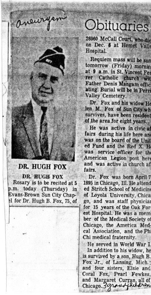 Dr. Hugh Fox Senior Obituary-Sun City News