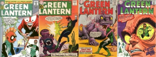 Green Lantern, Green Lantern #6, Giant monster on Xudar, Green Lantern #8, Giant Gila Monster from the Future, Green Lantern #30, Dinosaurs, Green Lantern #34, Giant Iguana, Green Lantern #53, Giant Alien