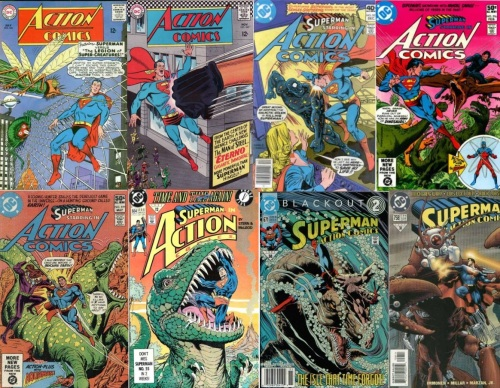 Action Comics, Legion of Super-Creatures, Action Comics #347, Eterno, Action Comics #502, Galactic Golem, Action Comics #516, Army of Dinosaurs, Action Comics #519, Cosmic Creature, Action Comics #664, Tyrannosaurus Rex, Action Comics # 671, Sea Serpent, Action Comics #758, Rock Lobster