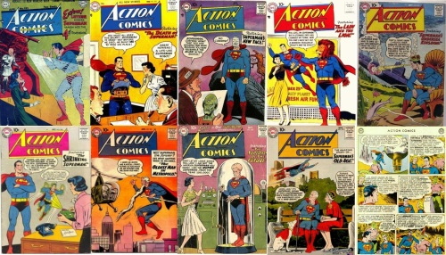 Superman Transformations, Action Comics, Action Comics Collage Key, Action Comics #131, Phantom Superman, Action Comics #225, Robot Superman, Action Comics #239, Alien Superman, Action Comics #243, Lion Headed Superman, Action Comics #244, Underwater Superman, Action Comics #245, Small, Action Comics #251, Old, Action Comics #256, Giant Brain, Action Comics #270, Old, Action Comics #275, Third Eye
