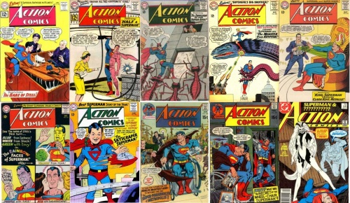 Action Comics #284, Super Baby, Action Comics #290, Half Body, Action Comics #296, Ant Superman, Action Comics #303, Freak, Action Comics #312, King, Doppelganger, Action Comics #317, Colored Faces, Action Comics #325, Giant Superman, Action Comics #396, Action Comics #397, Action Comics #595, Phantom