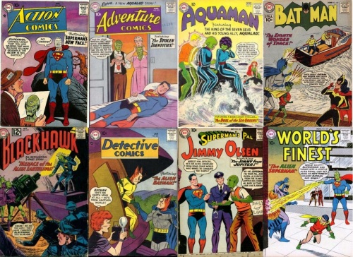 Alien Transformations, Alien Collage Key, Action Comics #239, Adventure #270, Aquaman #16, Batman #140, Blackhawk #177, Alien Blackhawk, Detective Comics #251, Jimmy Olsen #32