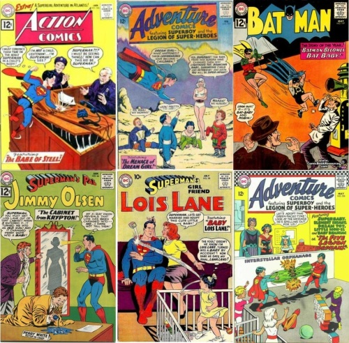 Baby Transformations, Baby Collage Key, Action #284, Baby Superman, Adventure #317, Baby Legions of Superheroes, Batman #147, Baby Batman, Jimmy Olsen #66, Baby Perry White, Lois Lane #10, Baby Lois Lane, Adventure Comics #356