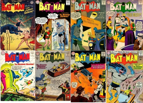 Batman Transformations, Batman #72, Jungle Batman, Batman #118, Underwater Batman, Batman #119, Old Batman, Batman #140, Batman and Robin Aliens, Batman #147, Batman Baby, Batman #162, Batman Freak,