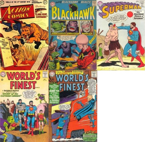Caveman Transformations, Caveman Collage Key, Action #169, Clark Kent, Caveman, Blackhawk #205, Superman #171, Superman Caveman, World's Finest #138, Caveman Batman, Caveman Robin, Caveman Superman, World's Finest #151, Superman Caveman,