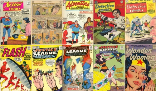 Small Transformations, Small Collage Key, Action Comics #283, Small Supergirl, Adventure Comics #330, Small Colossal Boy, Flash #109, Small Flash, Justice League of America #10, Finger Puppet Justice League, Justice League of America #18, Shrunken Justice League, Justice League of America #60, Bee Drone Justice League, Superman #245, Super-Mite, Detective Comics #127, Small Batman and Robin, Detective Comics #148