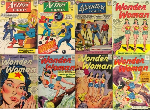 Doppelganger Transformations, Doppelganger Collage Key, Action Comics #312, King Superman, Adventure #255, Action Comics #341, Wonder Woman #62, Triplet, Wonder Woman #90, Giant Double, Wonder Woman #98, Wonder Woman #102, Wonder Woman #111