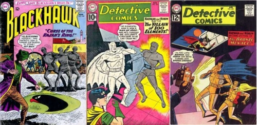 Element Transformation, Element Transformations Collage Key, Blackhawk #182, Stone Blackhawks, Detective Comics #294, Calcium Batman, Detective Comics #302, Bronze Batman