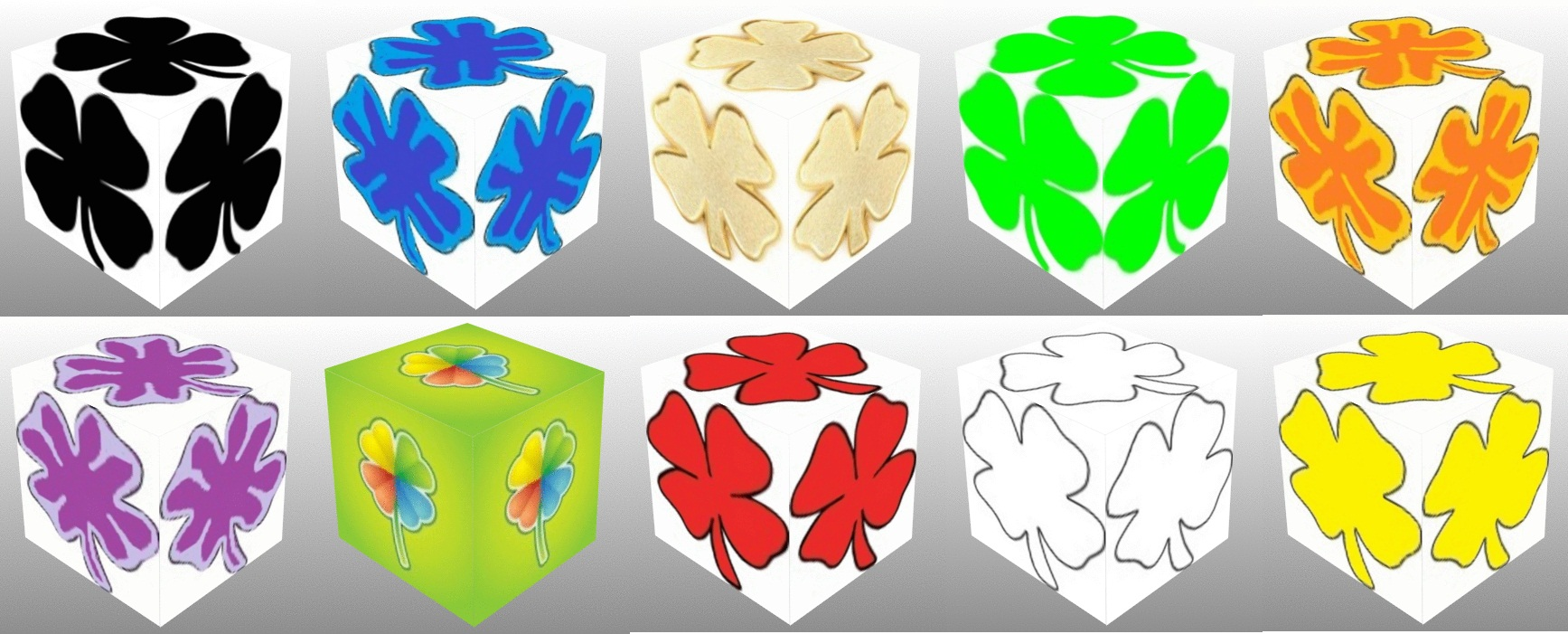 3D cube, dice, Good Luck, Good Luck Dice, Green Clover, Red Clover, Black Clover, Gold Clover, White Clover, Rainbow Clover, Four Leaf Clover, Black Four Leaf Clover, Gold Four Leaf Clover, Green Four Leaf Clover, Rainbow Four Leaf Clover, Red Four Leaf Clover, White Four Leaf Clover, Yellow Four Leaf Clover, collage
