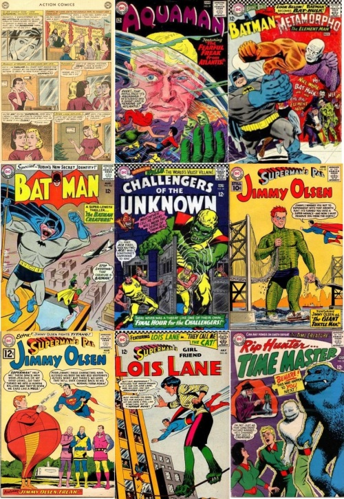 Freak Transformations, Freak Collage Key , Action Comics #284, Two Headed Supergirl, Aquaman #21, Aquaman Giant Freak, Brave & Bold #68, Bat Hulk, Batman #162, Batman Creature, Challengers of the Unknown #50, Giant Green Freak, Jimmy Olsen #53, Giant Turtle Man, Jimmy Olsen #59, Fat Freak, Lois Lane #66, Lois Lane with Green Furry Feet, Rip Hunter Time Master #28, Giant Blue Fanged Creature