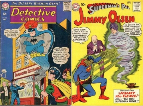 Genie Transformations, Genie Collage Key, Detective Comics #322, Batman Genie, Jimmy Olsen #42, Jimmy Olsen Genie