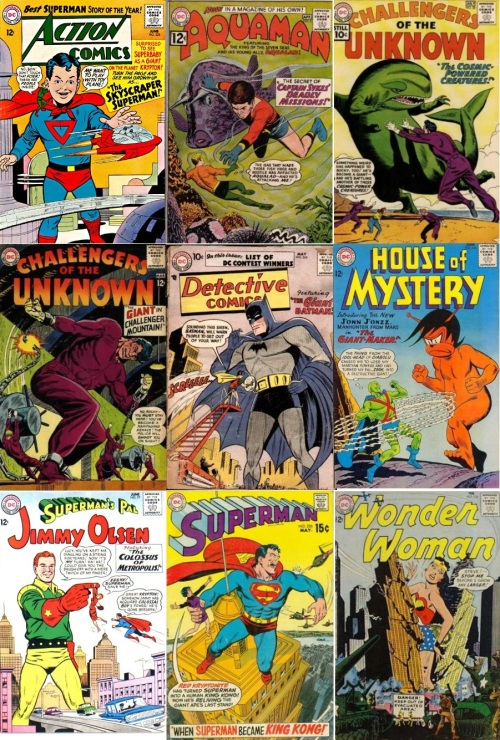 Giant Transformations, Giant Collage Key, Action #325, Giant Superboy, Aquaman #2, Giant Aqualad, Challengers of the Unknown #20, Giant Rocky, Challengers of the Unknown #36, Giant Rocky, Detective Comics #243, Giant Batman, House of Mystery #143, Giant Zook, Jimmy Olsen #77, Giant Jimmy Olsen, Superman #226, Giant Superman, Wonder Woman #136, Giant Wonder Woman