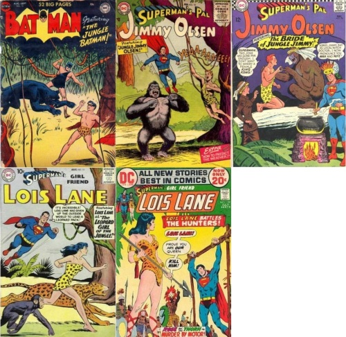 Jungle Transformations, Jungle Collage Key, Batman #72, Jungle Batman, Jimmy Olsen #10, Jungle Jimmy Olsen, Jimmy Olsen #98, Jungle Jimmy, Lois Lane #11, Leopard Girl, Lois Lane #124, Jungle Queen