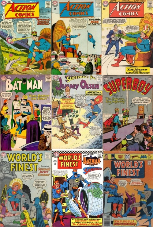 King Transformations, King Collage Key, Action Comics #244, Undersea King, Action Comics, King Superman, Jimmy Olsen #3, King Olsen, World's Finest #111, Indian Superman King, Superboy #32, King Superboy, World's Finest #165 (King Superman, King Batman, World's Finest #240, King Superman