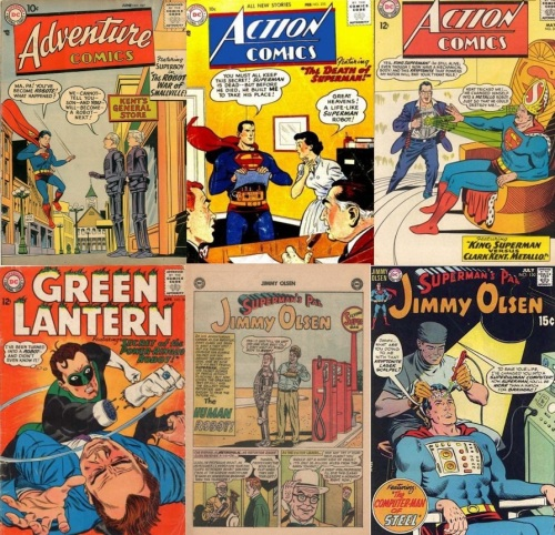 Robot Transformations, Robot Collage Key, Action Comics #225, Robot Superman, Action Comics #, Clark Kent Metallo, Adventure Comics #237, Ma and Pa Kent Robots, Green Lantern #36, Green Lantern Robot, Jimmy Olsen #70, Robot Jimmy Olsen, Jimmy Olsen #130, The Computer-Man of Steel,
