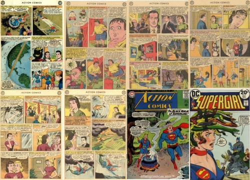 Supergirl Transformations, Supergirl Collage Key, Action Comics #267, Adult Supergirl, Action Comics #283, Fat Supergirl, Werewolf Supergirl, Small Supergirl, Action Comics #284, Two headed Supergirl, Mermaid Supergirl, Action Comics #324, Devil Supergirl, Supergirl #8, Medusa Haired Supergirl, Medusa Hair Supergirl, Medusa Hair