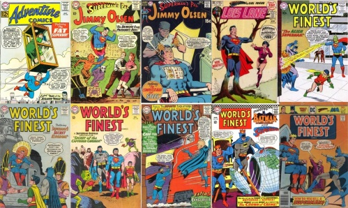 Various Titles, Various Titles Collage Key, Jimmy Olsen #81, Devil Superman, Jimmy Olsen #130, Robot Superman, Lois Lane #112, Tree Superman, World's Finest #105, Alien Superman, World's Finest #126, King Superman, World's Finest #138, Caveman Superman, World's Finest #151, Caveman Superman, World's Finest #165,King Batman, World's Finest  #240, King Superman