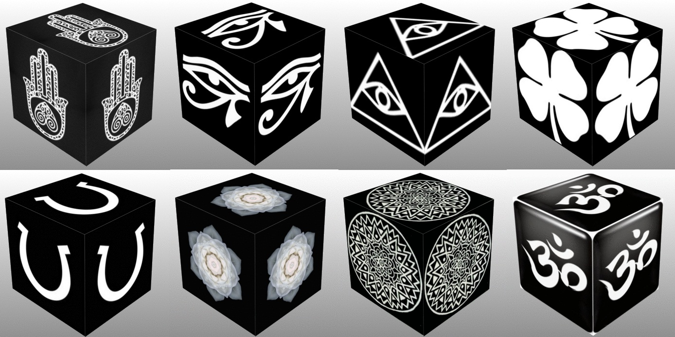 Cube, 3D Cube, Dice, White Eye of Horus, White Eye of Fatima, White Eye of Providence, White Four Leaf Clover, White Horseshoe, White Lotus Flower, White Mandala, collage