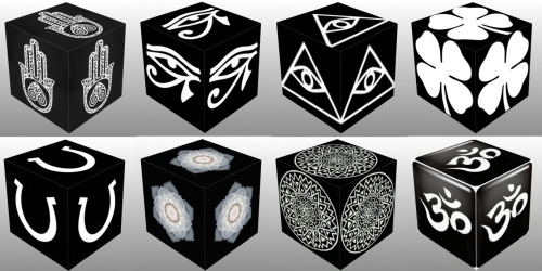 Cube, 3D Cube, Dice, White Eye of Horus, White Eye of Fatima, White Eye of Providence, White Four Leaf Clover, White Horseshoe, White Lotus Flower, White Mandala, collage