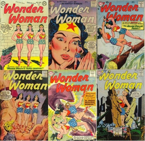 Wonder Woman Transformations, Wonder Woman Collage Key, Wonder Woman #62, Doppelganger, Triplets, Wonder Woman #90, Giant Doppelganger, Wonder Woman #98, Doppelganger, Wonder Woman #102, Wonder Woman #111, Wonder Woman #136, Giant Wonder Woman