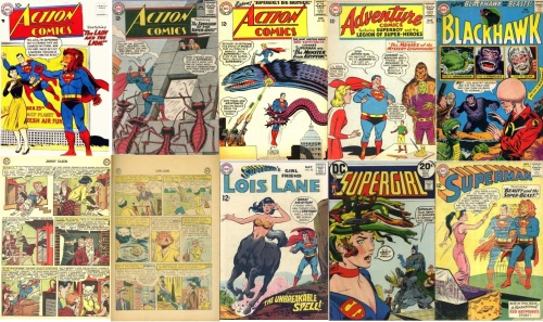Animal Transformations, Animal Collage Key, Action Comics #243, Lion Headed Superman, Action Comics #296, Ant Superman, Action Comics #303, Kryptonian Monster, Action Comics #284, Mermaid Supergirl, Adventure #330, Gorilla Braniac 5, Black Hawk #205, Dinosaur, Gorilla, Jimmy Olsen #66, Cat Headed Lois Lane, Lois Lane #13, Lois Lane #92, Lois Lane Centaur, Supergirl #8, Medusa Hair, Superman #139