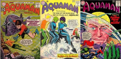 Aquaman Transformations, Aquaman Collage Key, Aquaman # 2, Giant Aquaboy, Aquaman # 16, Alien Aquaman, Aquaman # 21, Giant Aquaman