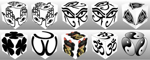 cube, 3d cube, lucky dice, luck symbols, Black Eye of Fatima, Black Eye of Providence, Black Four Leaf Clover, Black Horseshoe, Black Maneki Neko, Black Om, Black Ying Yang