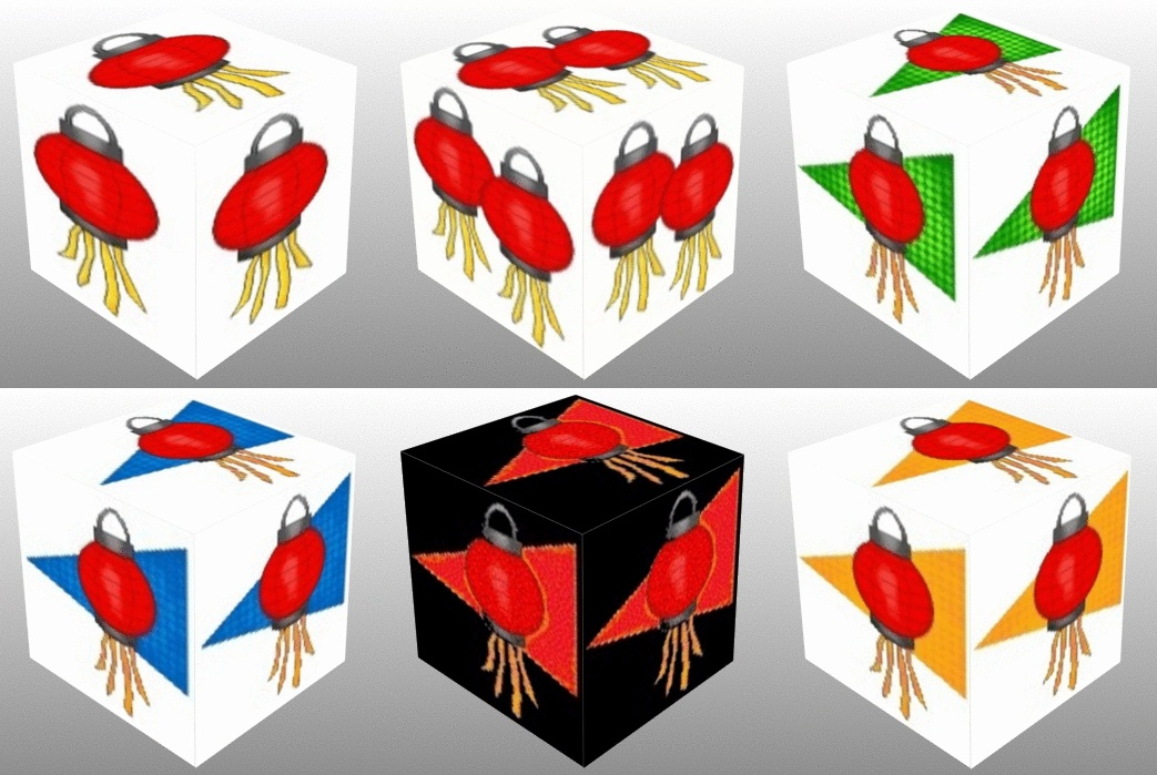 3D cube, dice, Good Luck, Chinese Good Luck, Chinese, Chinese Lantern