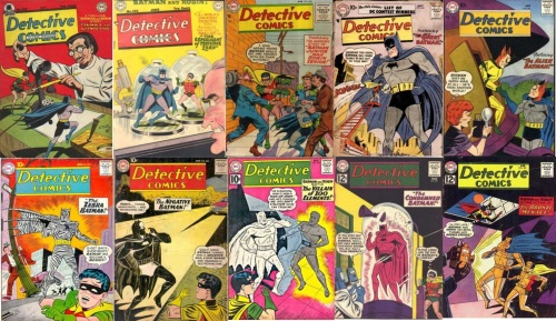 Detective #243, Giant Batman, Detective Comics #251, Alien Batman, Detective Comics #268, Glowing Batman, Detective Comics #275, Zebra Batman, Detective Comics #284, Negative Batman, Detective Comics #294, Calcium Batman, Detective Comics #301, Radioactive Batman, Detective Comics #302, Bronze Batman