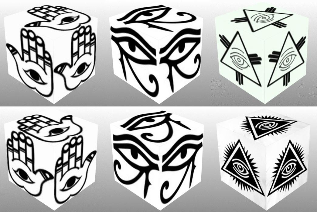 Cube, 3D cube, Eye of Fatima Right, Eye of Fatima Left, Eye of Horus Right, Eye of Horus Left, Eye of Providence, collage