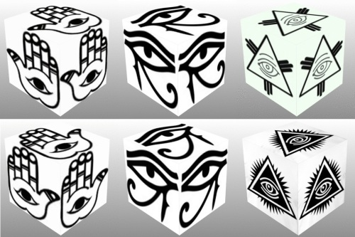 Cube, 3D cube, Eye of Fatima Right, Eye of Fatima Left, Eye of Horus Right, Eye of Horus Left, Eye of Providence, collage
