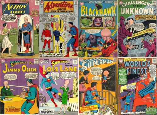 Giant Head Transformations, Giant Head Collage Key, Action Comics #256, Ultra Superman, Adventure Comics #324, Evolvo Lad, Blackhawk #205, Giant Headed Blackhawk, Challengers of the Unknown #39, Giant Headed Rocky, Jimmy Olsen #22, Super-Brain of Jimmy Olsen, Lois Lane #27, Lois Lane's Super-Brain, Superman #224, Super Baby, World's Finest #151, Batman of 800,000 AD