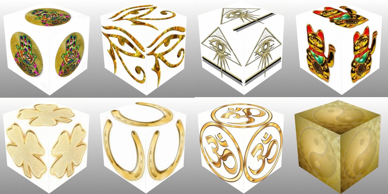 cube, 3d cube, lucky dice, luck symbols, Gold Eye of Fatima, Gold Eye of Providence, Gold Four Leaf Clover, Gold Horseshoe, Gold Maneki Neko, Gold Om, Gold Ying Yang, collage