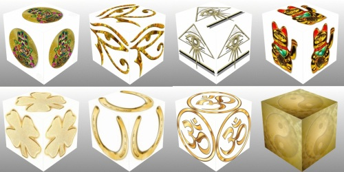 cube, 3d cube, lucky dice, luck symbols, Gold Eye of Fatima, Gold Eye of Providence, Gold Four Leaf Clover, Gold Horseshoe, Gold Maneki Neko, Gold Om, Gold Ying Yang, collage