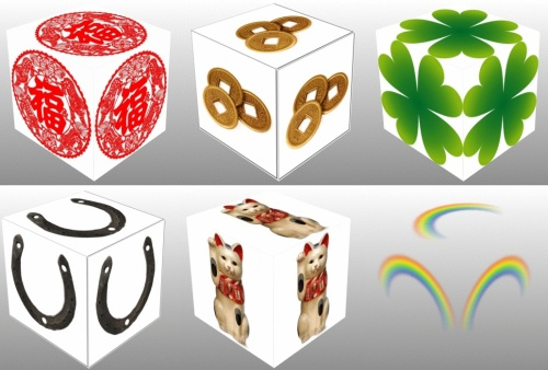 feng shui coins, four leaf clover, horseshoe, maneki neko, rainbow, collage, 3D cube, cube, dice, luck, good luck, Chinese coins, Chinese characters, Shamrock, Lucky Dice, Lucky Symbols, Maneki Neko. Four Leaf Clover, Clover