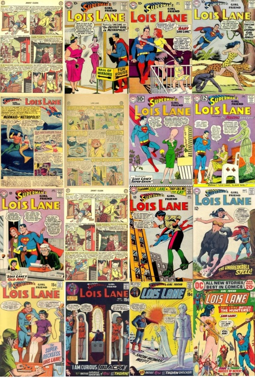 Lois Lane Transformations, Lois Lane Collage Key, Jimmy Olsen #66, Cat Headed Lois Lane, Lois Lane #5, Fat Lois Lane, Lois Lane #10, Baby Lois Lane, Lois Lane #11, Jungle Lois Lane, Lois Lane #13, Cat Headed Lois Lane, Lois Lane #27, Giant Head, Lois Lane #33, Phantom Lois Lane, Lois Lane #40, Old Lois Lane, Lois Lane #66, Freak, Lois Lane #92, Centaur Lois Lane, Lois Lane #101, Invisible Lois Lane, Lois Lane #106, Black Lois Lane, Lois Lane #107, Snow, Lois Lane #124, Jungle Lois Lane