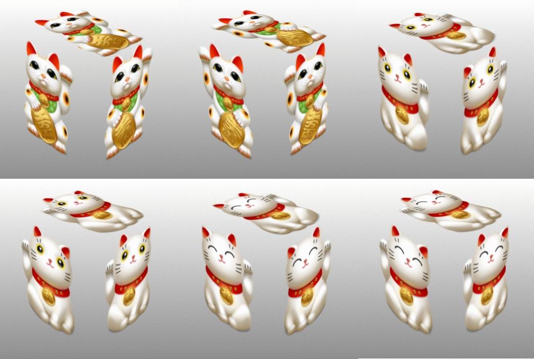 Maneki Neko, collage, cubes, bib, bell, coin