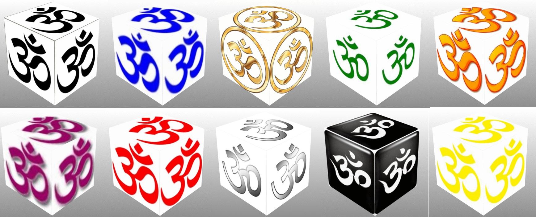 cube, 3d cube, Om symbol, black om, blue om, gold om, green om, orange om, purple om, red om, Pink Om, white om, yellow om, collage, good luck, Hindu