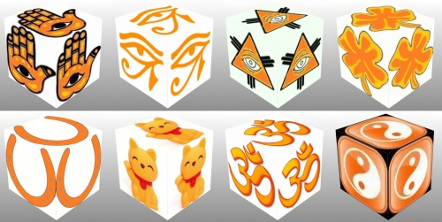 Cube, 3D Cube, Orange Eye of Horus, Orange Maneki Neko, Orange Om, Orange Ying Yang, Orange Hand Fatima, Orange Eye of Providence, Orange Four Leaf Clover, Orange Horseshoe, lucky dice, luck symbols, collage