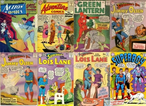 Phantom Collage Key, Action Comics #131, Superman in 4th Dimension, Adventure Comics #283, The Phantom Superboy, Green Lantern #20, Phantom Green Lantern, Jimmy Olsen #12, Invisible Jimmy Olsen, Jimmy Olsen #40, Lois Lane #33, Phantom Lois Lane, Lois Lane #101, Invisible Lois Lane, Superboy #162, The Super-Phantom of Smallville
