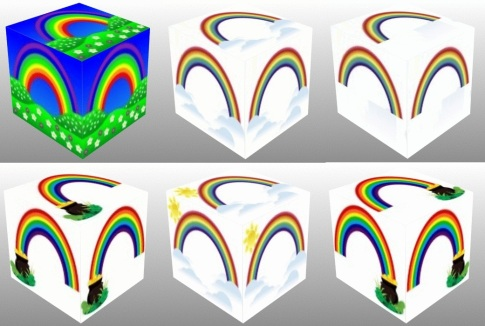 Rainbow over field, Rainbow and two clouds cube, Rainbow alone, Rainbow with pot on the left, Rainbow with pot on the right, Rainbow and two clouds and sun, 3Dcube, dice, dice, Good Luck, collage