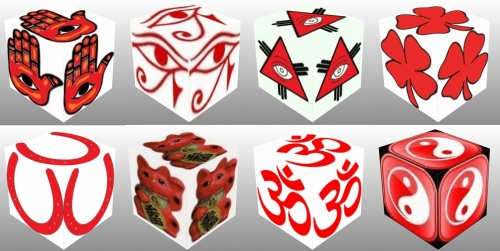 Cube, 3D Cube, Red Eye of Horus, Red Maneki Neko, Red Om, Red Ying Yang, Red Eye of Fatima, Red Eye of Providence, Red Horseshoe, Red Ying Yang, lucky dice, luck symbols