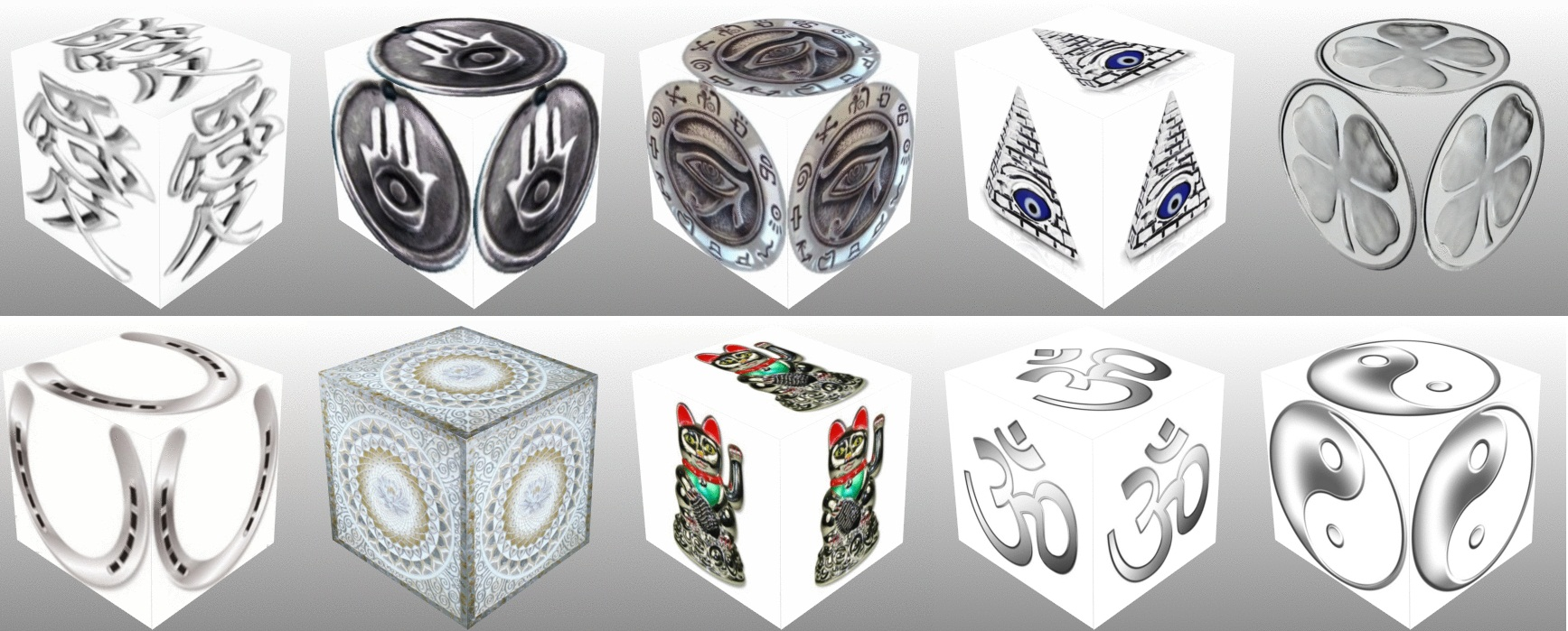 cube, 3d cube, lucky dice, luck symbols, Silver Eye of Fatima, Silver Eye of Providence, Silver Four Leaf Clover, Silver Horseshoe, Silver Maneki Neko, Silver Om, Silver Ying Yang, collage