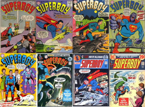 Superboy, Superboy #32, King Superboy, Superboy #50, Superboy #116, Werewolf Superboy, Superboy #142, Superboy #162, Phantom Superboy, Superboy #178, Superboy #180, Superboy #184, Manbat Superboy, Superboy #194, Mermaid Superboy